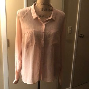 Sheer peach button up blouse